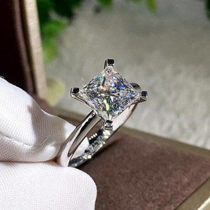 NEW 2ct Square Princess Cut Diamond Wedding Ring